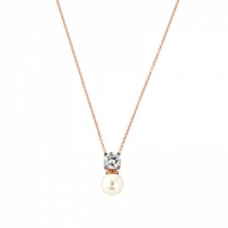 Millie Delicate Pearl Pendant Necklace (Rose Gold)