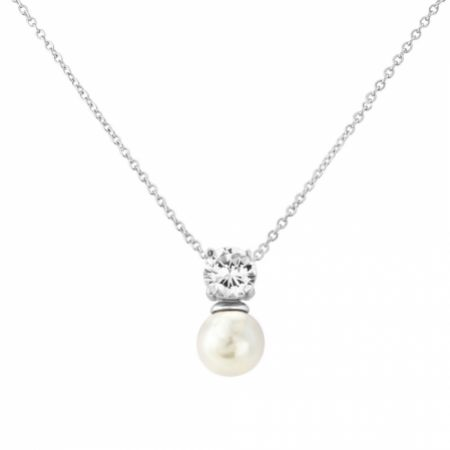 Millie Delicate Pearl Pendant Necklace (Silver)