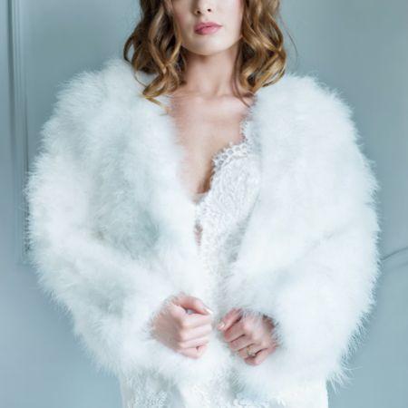 Monroe Ivory Feather Bridal Jacket