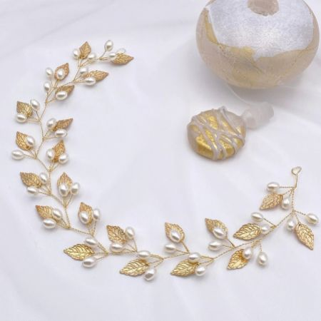 October Gold Leaves and Pearls Long Wedding Hair Vine