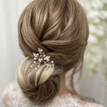 Silver Leaves and Pearl Hair Pin