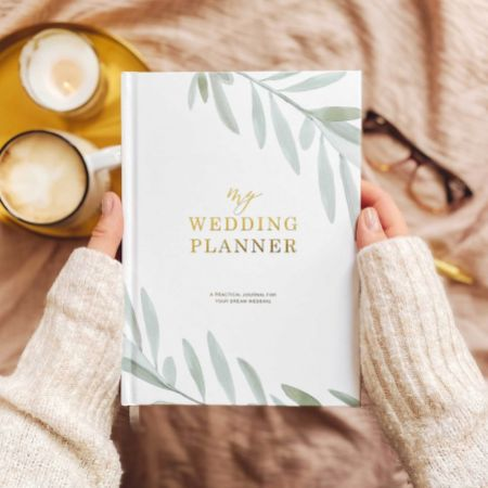 Olive Leaves Luxury Wedding Planner Book with Gilded Edges