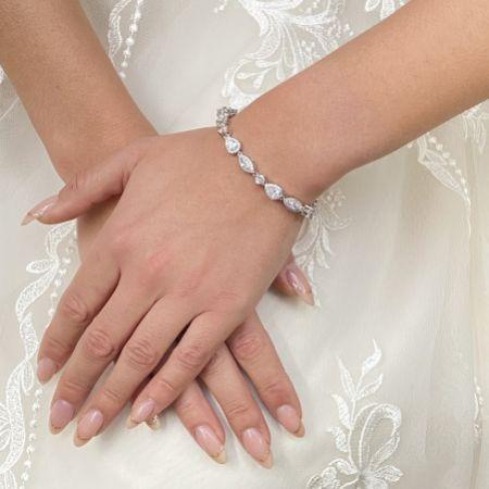 Palladium Cubic Zirconia Wedding Bracelet (Silver)