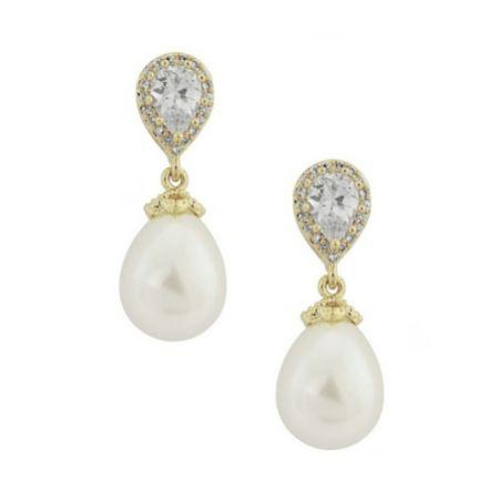 Paloma Teardrop Pearl Wedding Earrings (Gold)