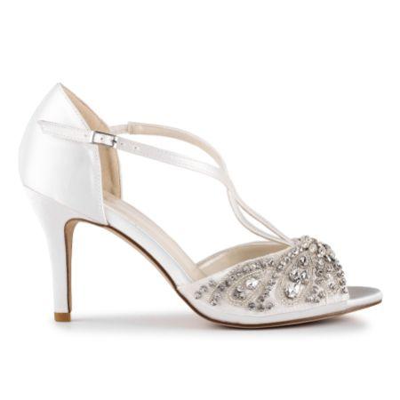 Paradox London Elin Ivory Satin Crystal Embellished T-Bar Sandals