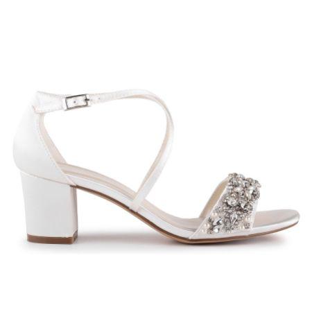Paradox London Evangeline Ivory Satin Embellished Low Block Heel Sandals