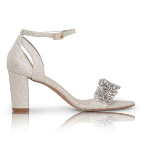 Perfect Bridal Alexa Gold Shimmer Embellished Block Heel Sandals