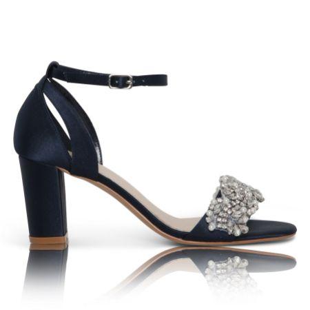 Perfect Bridal Alexa Navy Satin Embellished Block Heel Sandals