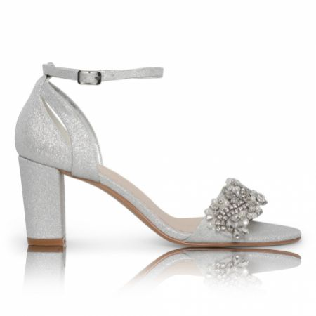 Perfect Bridal Alexa Silver Shimmer Embellished Block Heel Sandals