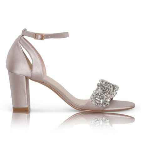 Perfect Bridal Alexa Taupe Satin Embellished Block Heel Sandals