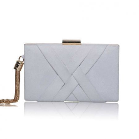 Perfect Bridal Anise Pearl Grey Suede Clutch Bag