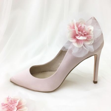 Perfect Bridal Apple Pink Flower Shoe Clips