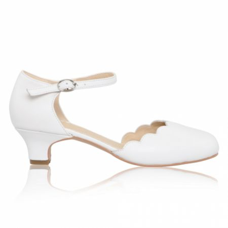 Perfect Bridal Avery White Leather Scalloped Kids Shoes