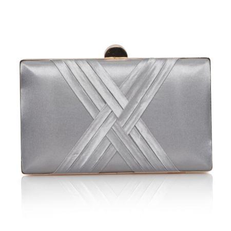Perfect Bridal Bay Silver Criss Cross Satin Clutch Bag