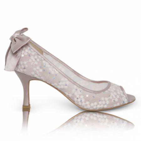 Perfect Bridal Beau Taupe Sequin Lace Peep Toes with Bow Detail