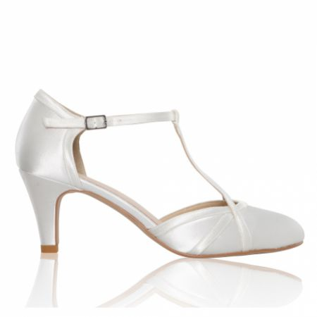 Perfect Bridal Belle Dyeable Ivory Satin Mid Heel T-Bar Shoes