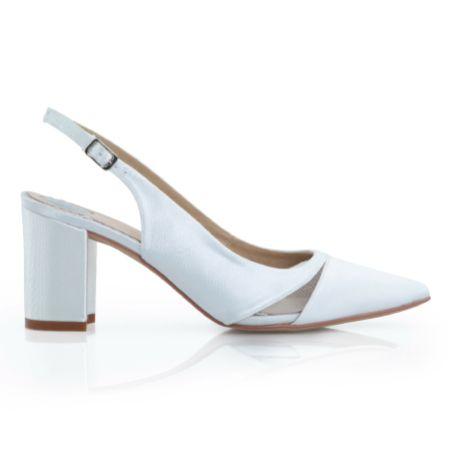 Perfect Bridal Brooke Dyeable Ivory Satin and Mesh Slingback Block Heels