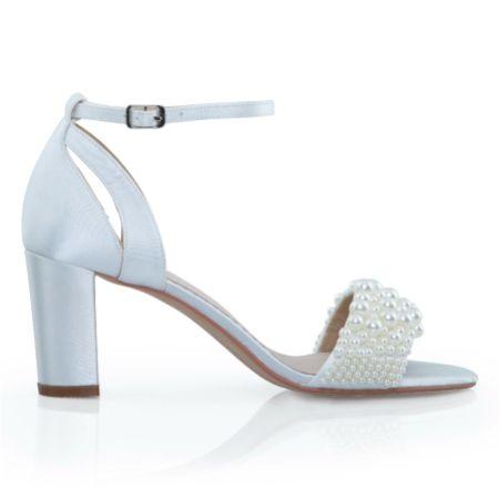 Perfect Bridal Carrie Ivory Satin Pearl Block Heel Bridal Sandals
