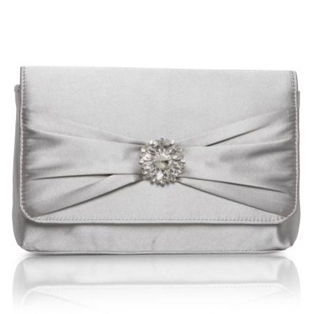 Perfect Bridal Cerise Silver Satin Clutch Bag with Crystal Trim