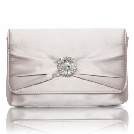 Perfect Bridal Cerise Taupe Satin Clutch Bag with Crystal Trim