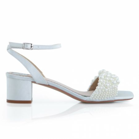 Perfect Bridal Claire Ivory Satin Pearl Low Block Heel Sandals