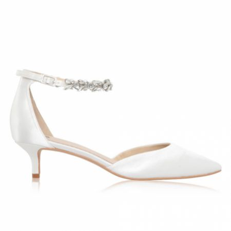 Perfect Bridal Eliza Dyeable Ivory Satin Embellished Ankle Strap Kitten Heels