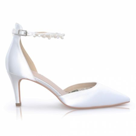 Perfect Bridal Ella Mid Dyeable Ivory Satin Keshi Pearl Ankle Strap Court Shoes