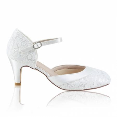 Perfect Bridal Elsa Dyeable Ivory Lace Ankle Strap Wedding Shoes (Wide Fit)
