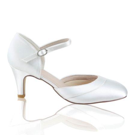 Perfect Bridal Elsa Dyeable Ivory Satin Ankle Strap Wedding Shoes