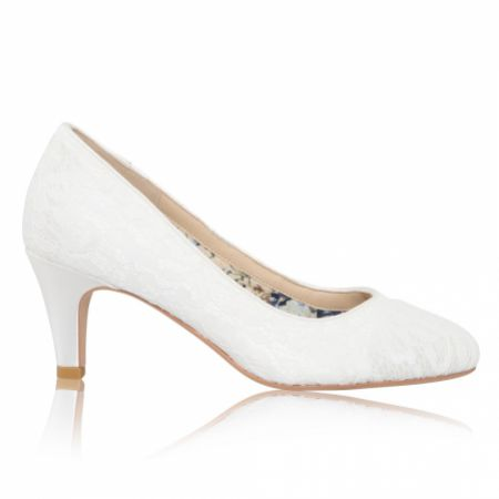 Perfect Bridal Erica Dyeable Ivory Lace Mid Heel Court Shoes