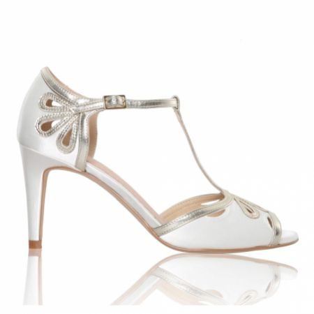 Perfect Bridal Esme Dyeable Ivory Satin and Gold Shimmer T-Bar Shoes (Wide Fit)