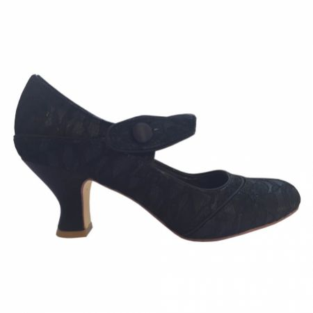 Perfect Bridal Esta Black Lace Vintage Inspired Mary Jane Shoes