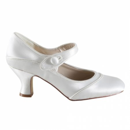 Perfect Bridal Esta Dyeable Ivory Satin Vintage Inspired Mary Jane Shoes