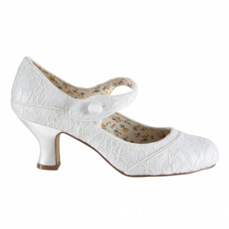 Perfect Bridal Esta Ivory Lace Vintage Inspired Mary Jane Shoes