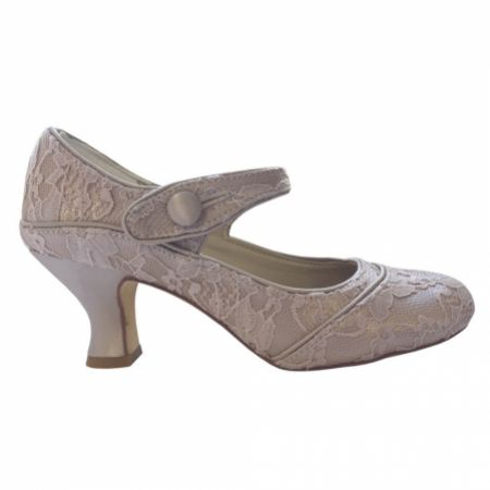Perfect Bridal Esta Nude Lace Vintage Inspired Mary Jane Shoes