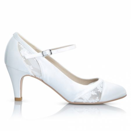 Perfect Bridal Faye Dyeable Ivory Satin and Lace Mary Jane Shoes
