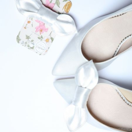 Perfect Bridal Fig Ivory Satin Bow Shoe Clips