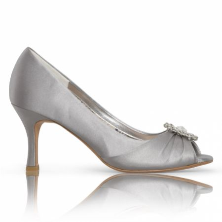 Perfect Bridal Gina Silver Satin Peep Toe Shoes with Crystal Trim