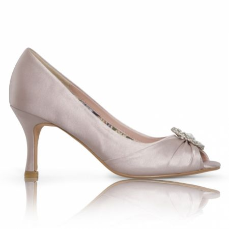 Perfect Bridal Gina Taupe Satin Peep Toe Shoes with Crystal Trim