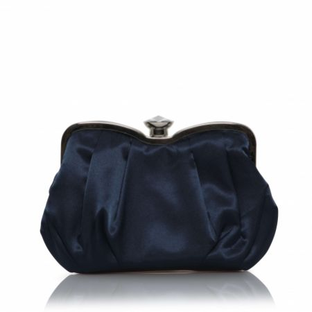 Perfect Bridal Ginger Navy Satin Clutch Bag with Crystal Clasp