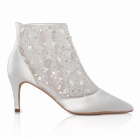 Perfect Bridal Imogen Dyeable Ivory Satin and Sequin Lace Wedding Boots