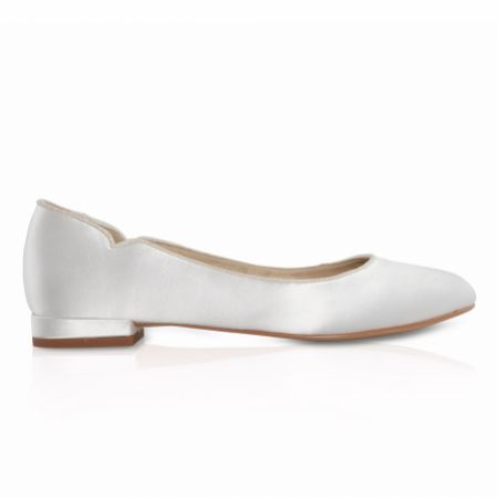 Perfect Bridal Jodie Dyeable Ivory Satin and Glitter Wedding Flats