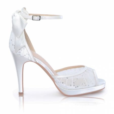 Perfect Bridal Joss Ivory Satin and Sequin Mesh Platform Shoes with Bow Detail