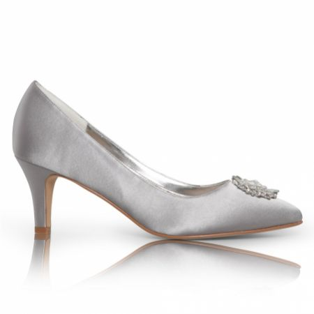 Perfect Bridal Katrin Silver Satin Mid Heel Court Shoes with Crystal Trim