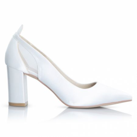 Perfect Bridal Layla Dyeable Ivory Satin and Mesh Pointed Block Heel Courts