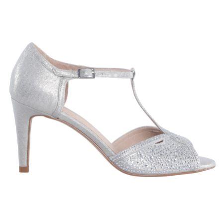Perfect Bridal Luna Silver Shimmer Crystal Embellished T-Bar Sandals