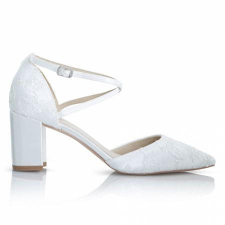 Perfect Bridal Maisie Dyeable Ivory Lace Block Heel Cross Strap Court Shoes