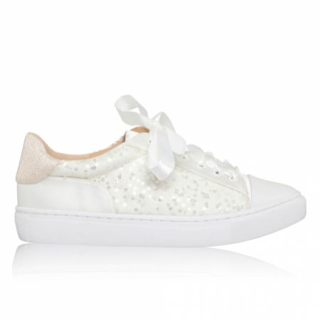 Perfect Bridal Nikki Ivory Sparkly Sequin Embellished Wedding Trainers
