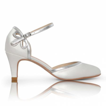Perfect Bridal Nina Dyeable Ivory Satin and Silver Ankle Strap Shoes