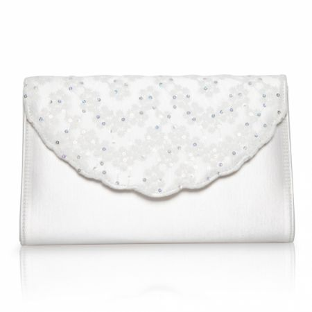 Perfect Bridal Nutmeg Dyeable Ivory Satin and Sequin Lace Clutch Bag